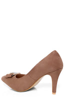 Mocha Faux Suede Embellished Court Shoes-Fabulous Bargains Galore