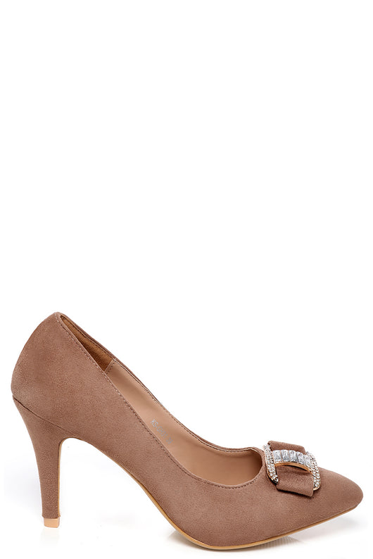 Mocha Faux Suede Embellished Court Shoes - Fabulous Bargains Galore