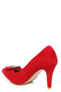 Red Faux Suede Embellished Court Shoes-Fabulous Bargains Galore