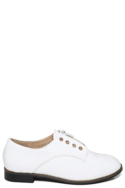 Zip Front Patent Brogues In White
