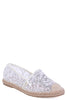 Sequin Embellished Lace Espadrilles In White