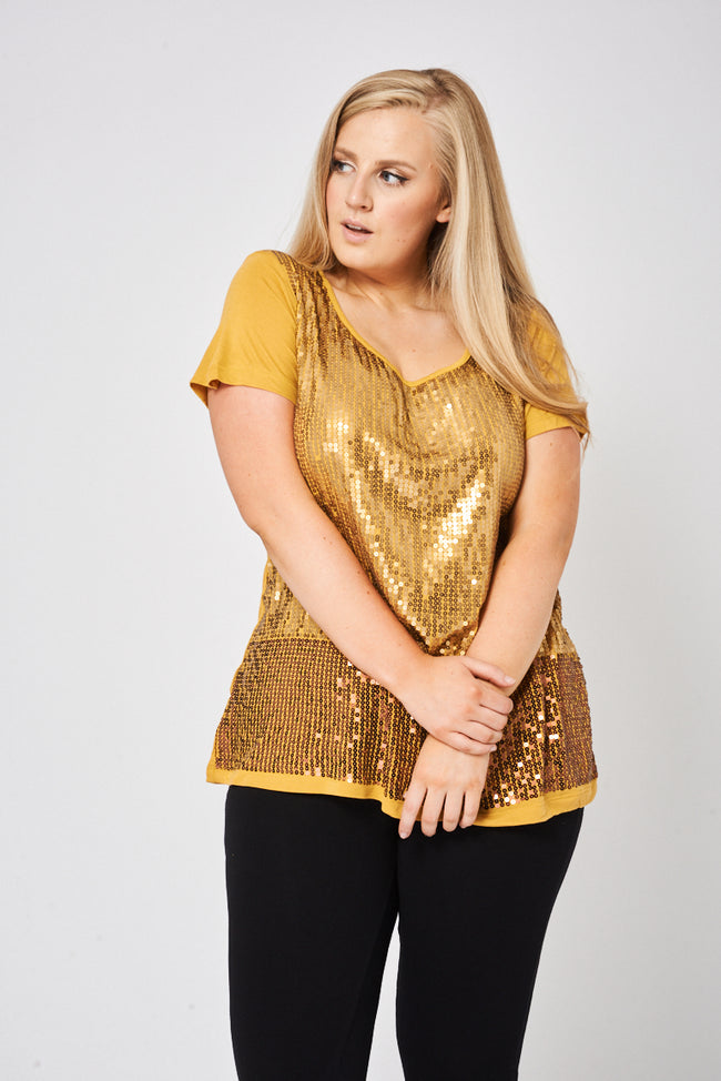 Gold Sequin Short Sleeve Top-Fabulous Bargains Galore