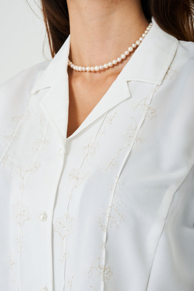 Cream Shirt with Embroidery Detail-Fabulous Bargains Galore