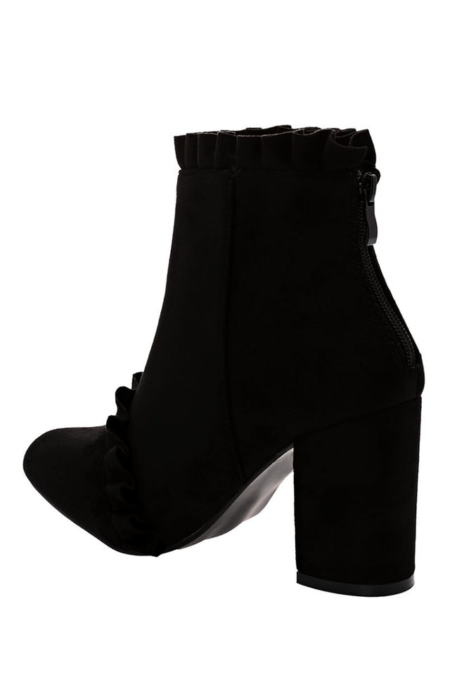 Black Faux Suede Ankle Boots With Ruffle Detail-Fabulous Bargains Galore