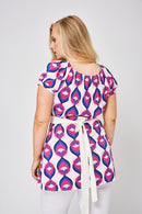 Abstract Pattern Tie Front Tunic Top-Fabulous Bargains Galore