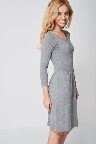 Plain Grey Skater Dress Ex-Branded
