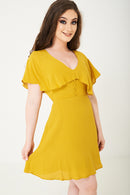 Yellow Skater Dress With Ruffle Layer Ex Brand - Fabulous Bargains Galore