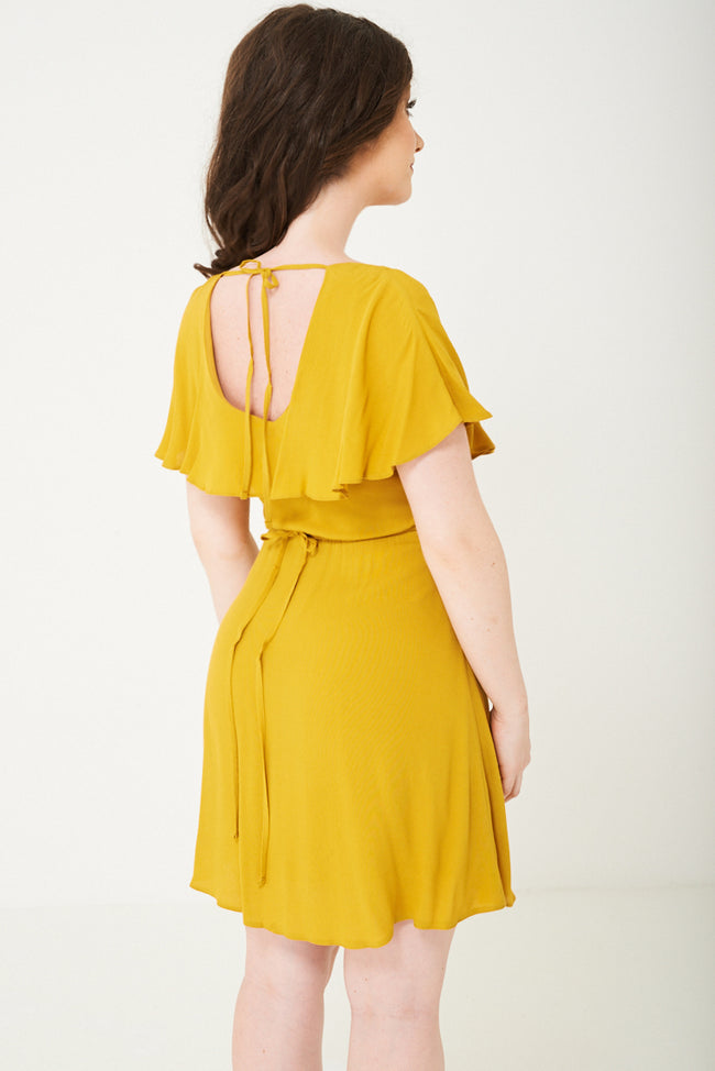 Yellow Skater Dress With Ruffle Layer Ex Brand-Fabulous Bargains Galore