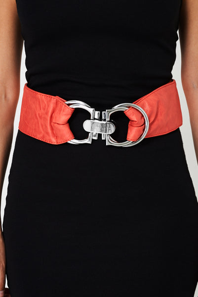 Faux Leather Wide Belt In Red