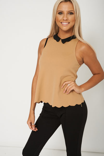 Scalloped Collar And Hemline Top Ex-Branded