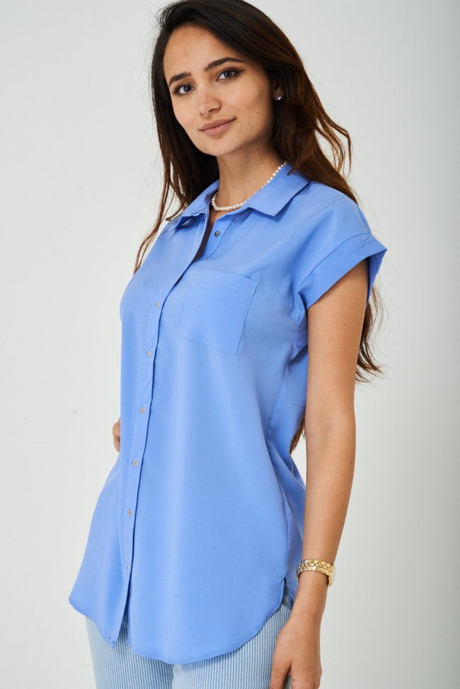 Longline Shirt in Pastel Blue-Fabulous Bargains Galore
