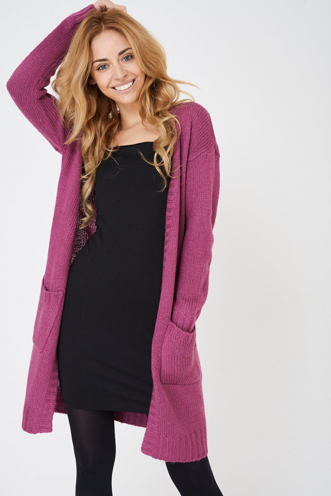 Pink Longline Chunky Knit Cardigan Ex Brand-Fabulous Bargains Galore