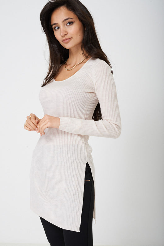 Ribbed Top with Side Slit Ex Brand-Fabulous Bargains Galore