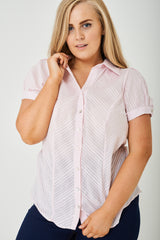 PLUS SIZE Striped Button Up Shirt in Pink