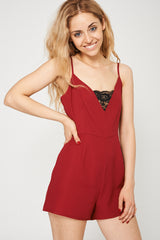 Burgundy Playsuit With Black Lace Detail