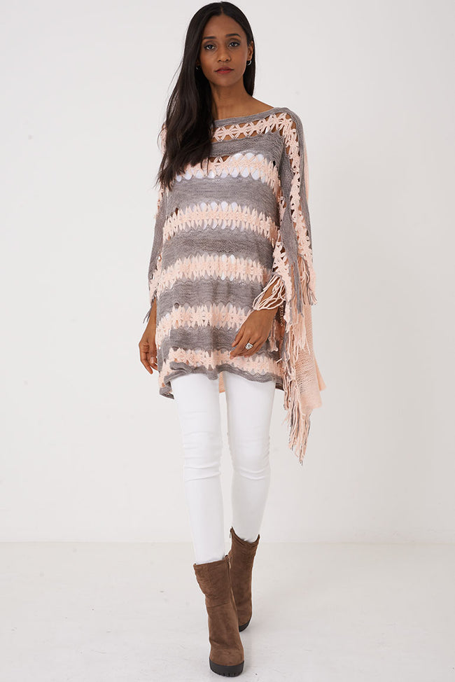 Pink Crochet Knit Poncho-Pink-Fabulous Bargains Galore