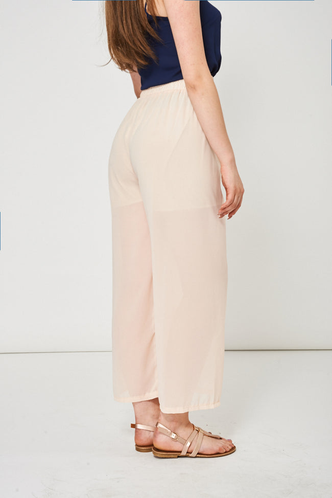 Peach Sheer Wide Leg Trousers-Fabulous Bargains Galore