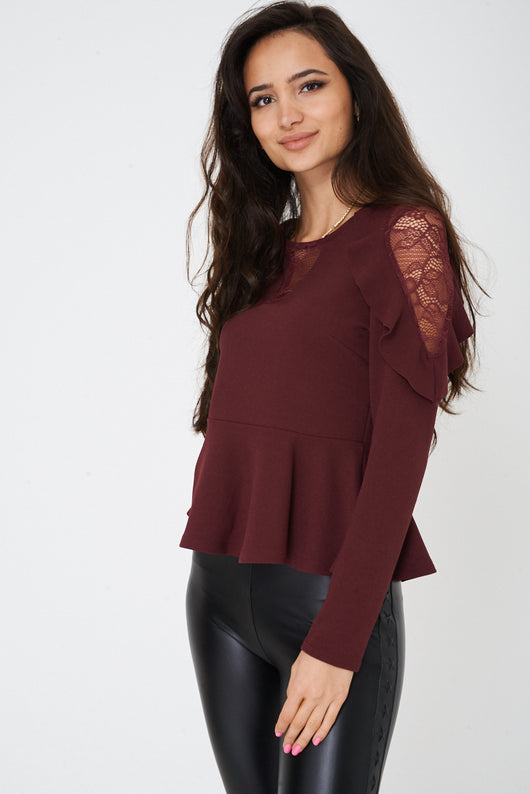 Burgundy Peplum Top with Lace and Frill Detail Ex Brand-Fabulous Bargains Galore