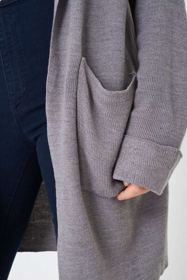 Grey Longline Cardigan with Hoodie Ex Brand-Fabulous Bargains Galore
