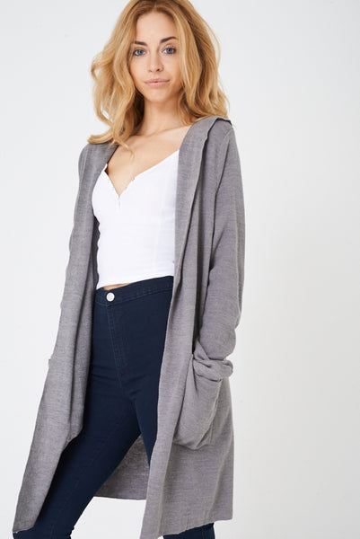 Grey Longline Cardigan with Hoodie Ex Brand