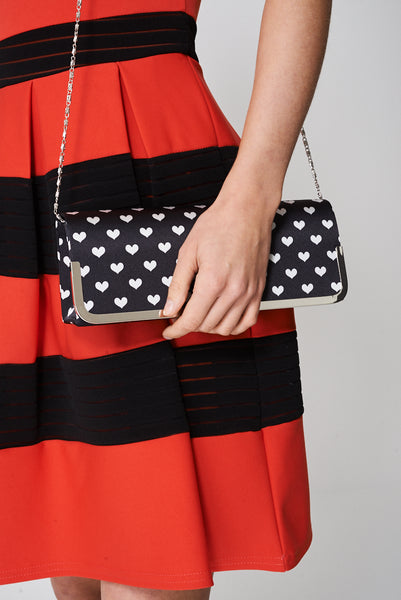 Tiny Hearts Printed Clutch Bag