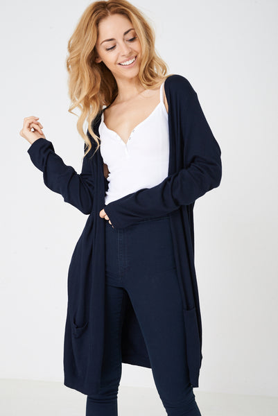 Long Open Front Knitted Cardigan
