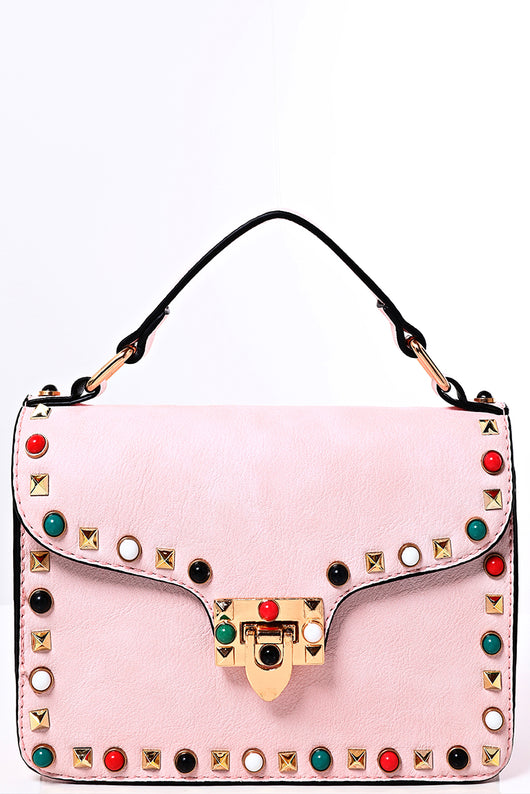 Studded Crossbody Bag in Sweet Pink - Fabulous Bargains Galore