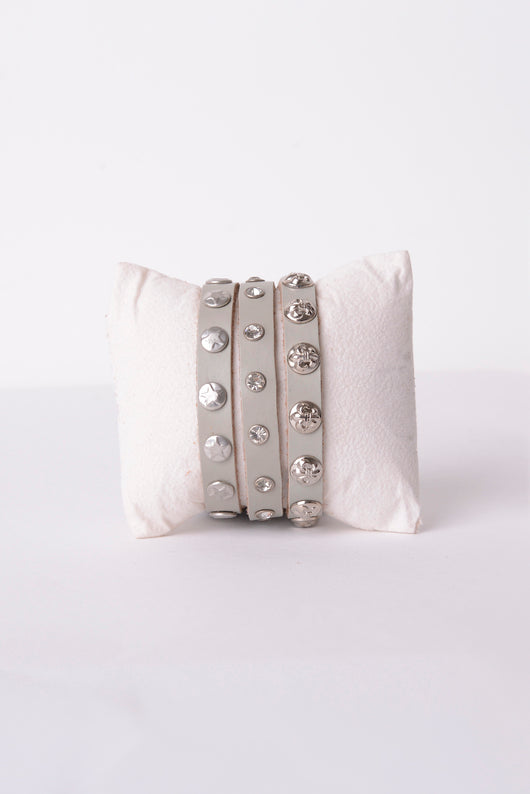 Leather Wrap Bracelet in Grey-Fabulous Bargains Galore
