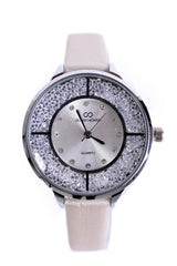 Diamante Embellished Thin Strap Watch In Champagne