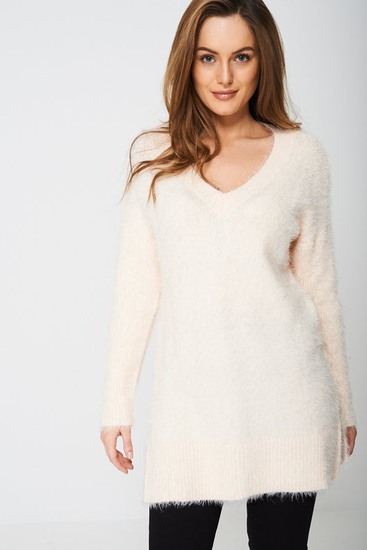 Longline Fluffy Jumper in Pink-Fabulous Bargains Galore
