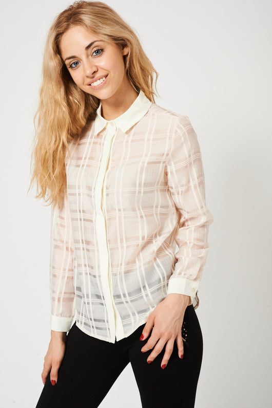 Long Sleeve Nude Shirt With Cream Trim - Fabulous Bargains Galore