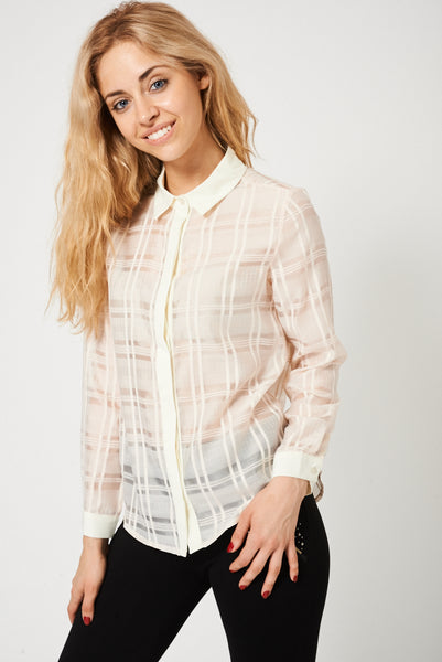 Long Sleeve Nude Shirt With Cream Trim