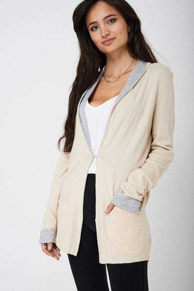 Soft Touch Long Cardigan in Beige