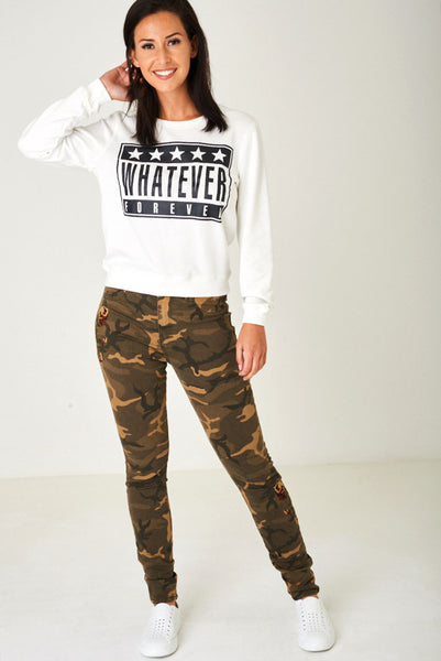 Skinny Camo Jeans with Embroidery Ex Brand