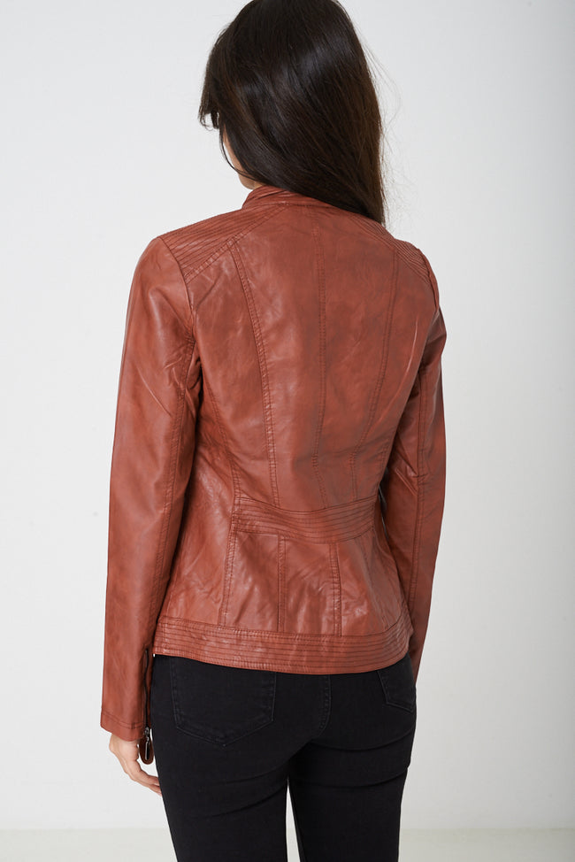 Brown Faux Leather Jacket-Fabulous Bargains Galore