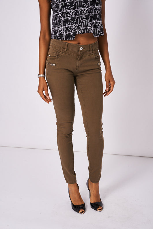 Khaki Zip Front Skinny Jeans Available In Plus Sizes-Fabulous Bargains Galore