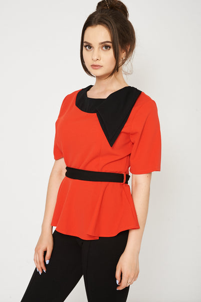 Short Sleeve Belted Top Available In Plus Sizes