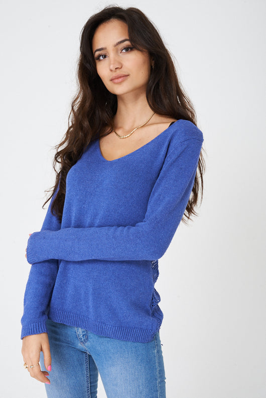 Crochet Back Jumper in Blue Ex Brand