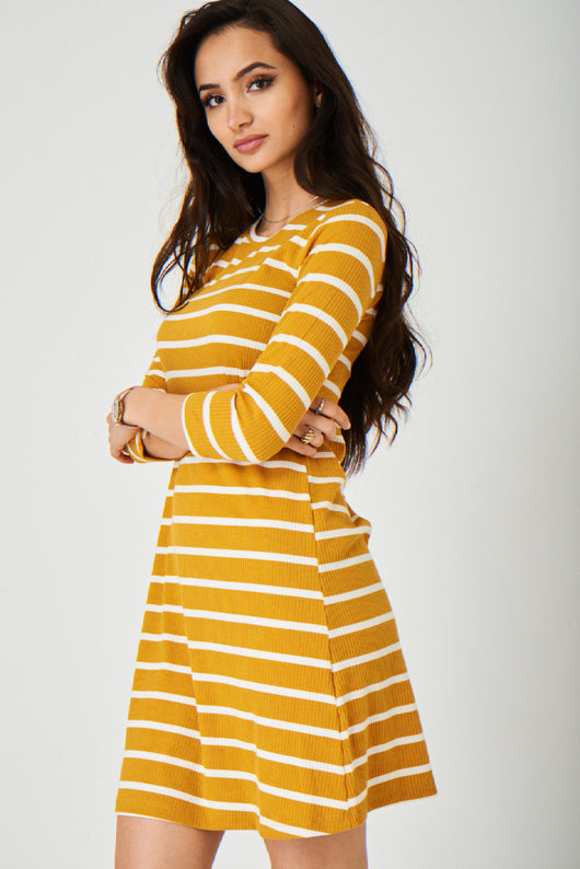 Yellow Dress in Stripes Ex Brand