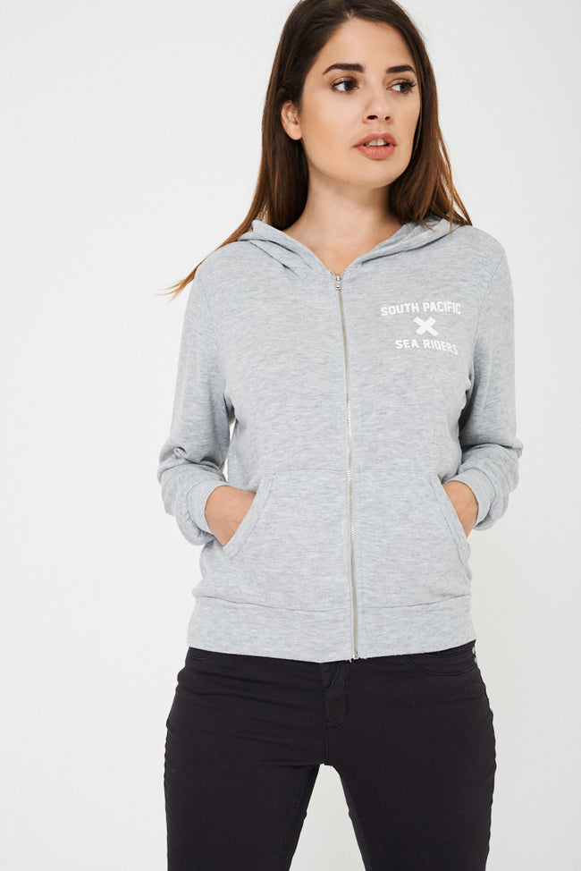 BIK BOK Zip Hoodie in Grey-Fabulous Bargains Galore