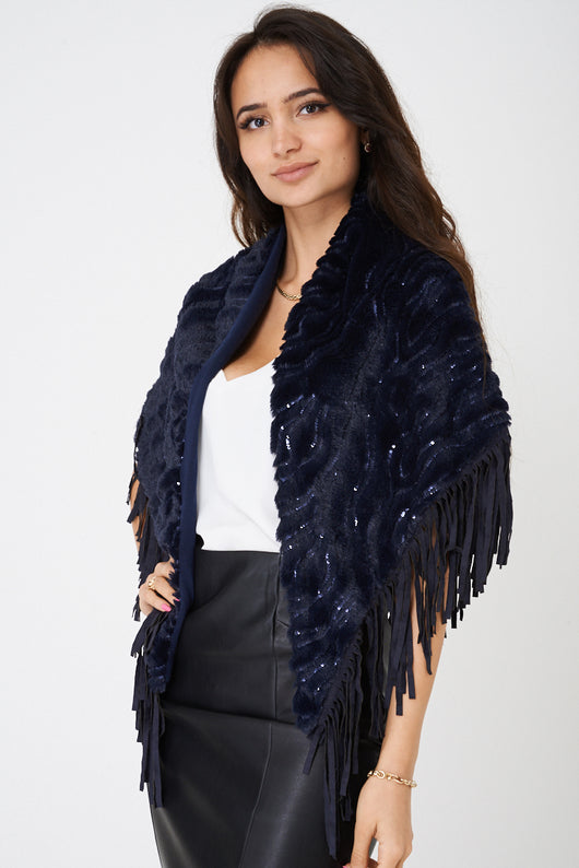 Fringe Scarf in Navy-Fabulous Bargains Galore