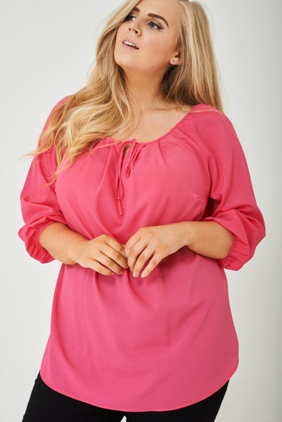 PLUS SIZE Pink Blouse with Ruched Cuffs