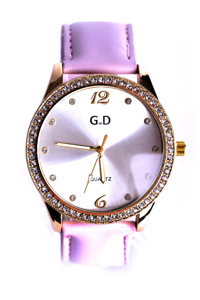Diamante Embellished Watch In Pink-Fabulous Bargains Galore