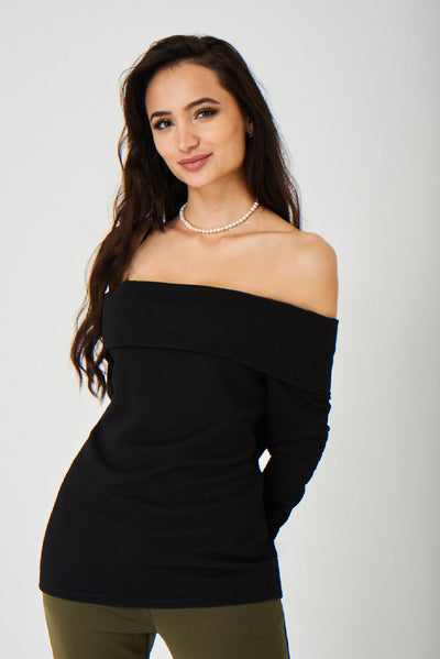 Off Shoulder Black Ribbed Top Ex Brand