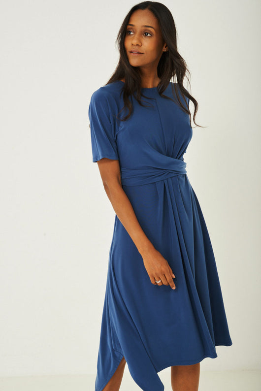 Slinky Blue Skater Dress Ex Brand-Fabulous Bargains Galore