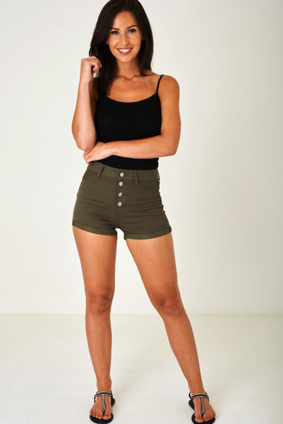 Khaki High Waisted Shorts with Exposed Button Fly Ex Brand