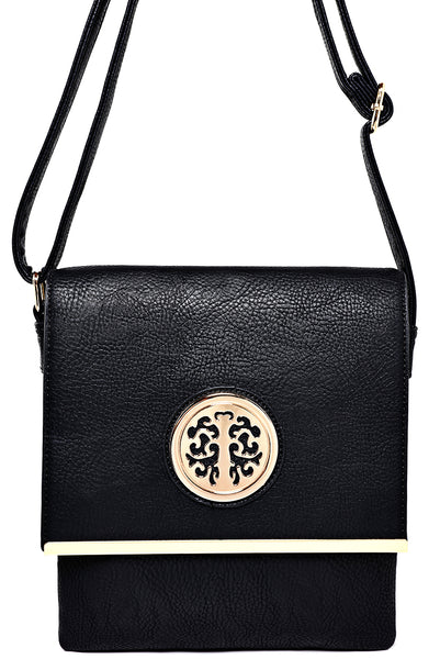 Black Crossbody Bag with Gold Detail