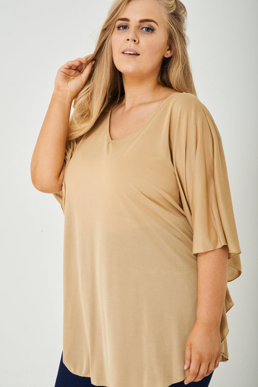 PLUS SIZE Lightweight Top in Beige-Fabulous Bargains Galore