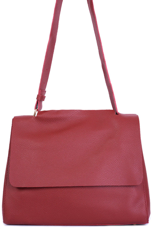 Burgundy Faux Leather Bag-Fabulous Bargains Galore