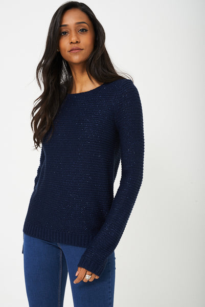 Glitter Knit Jumper in Navy